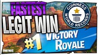 Fortnite Fastest LEGIT Win? | World Record For Fastest Win