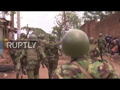 Kenya: Opposition protesters clash with anti-riot police in Nairobi as Kenyatta re-elected