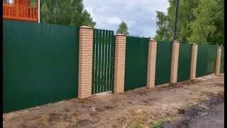видео Забор из столбов и панелей