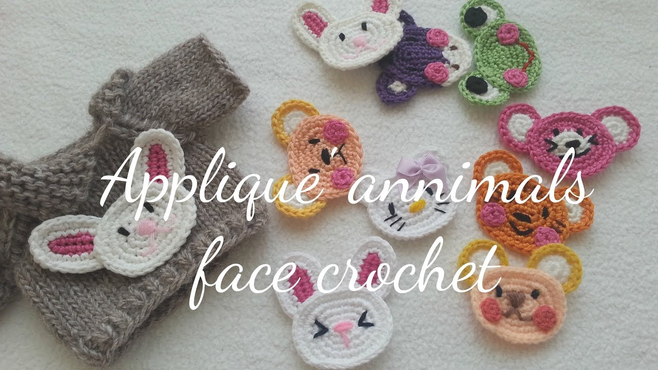 Annimals face crochet applique youtube