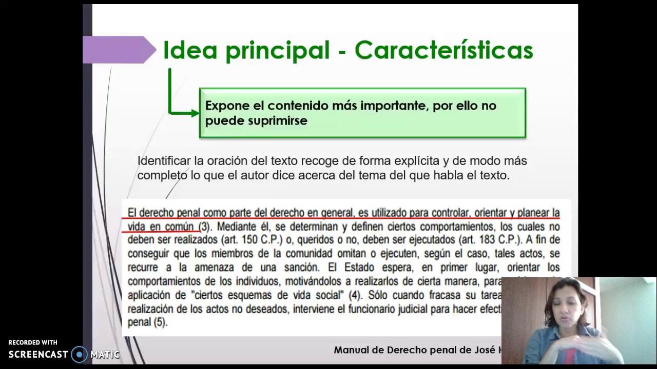 Idea Principal Y Secundaria De Un Texto Ejemplos