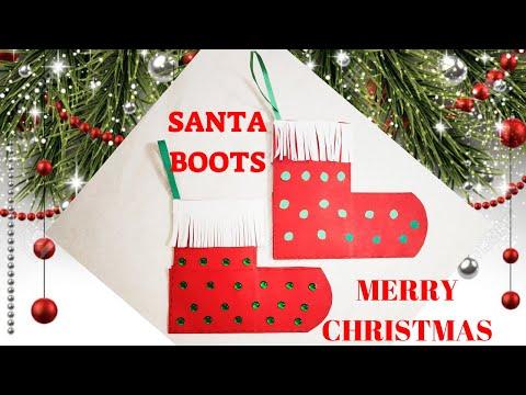 SANTA BOOTS FOR CHRISTMAS PARTY || DIY EASY SANTA BOOT CRAFT || ORIGAMI STOCKING || SANTA SHOES