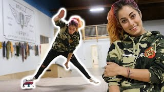 PRO SNOWBOARDER LEARNS HER FIRST SKATEPARK TRICK!