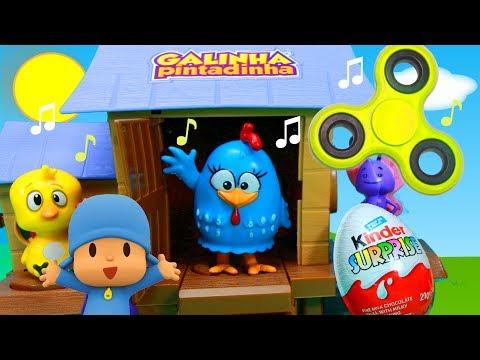 Galinha Pintadinha Galinheiro Musical Desafio Fidget Spinner Brinquedos Surpresas Pocoyo Massinha