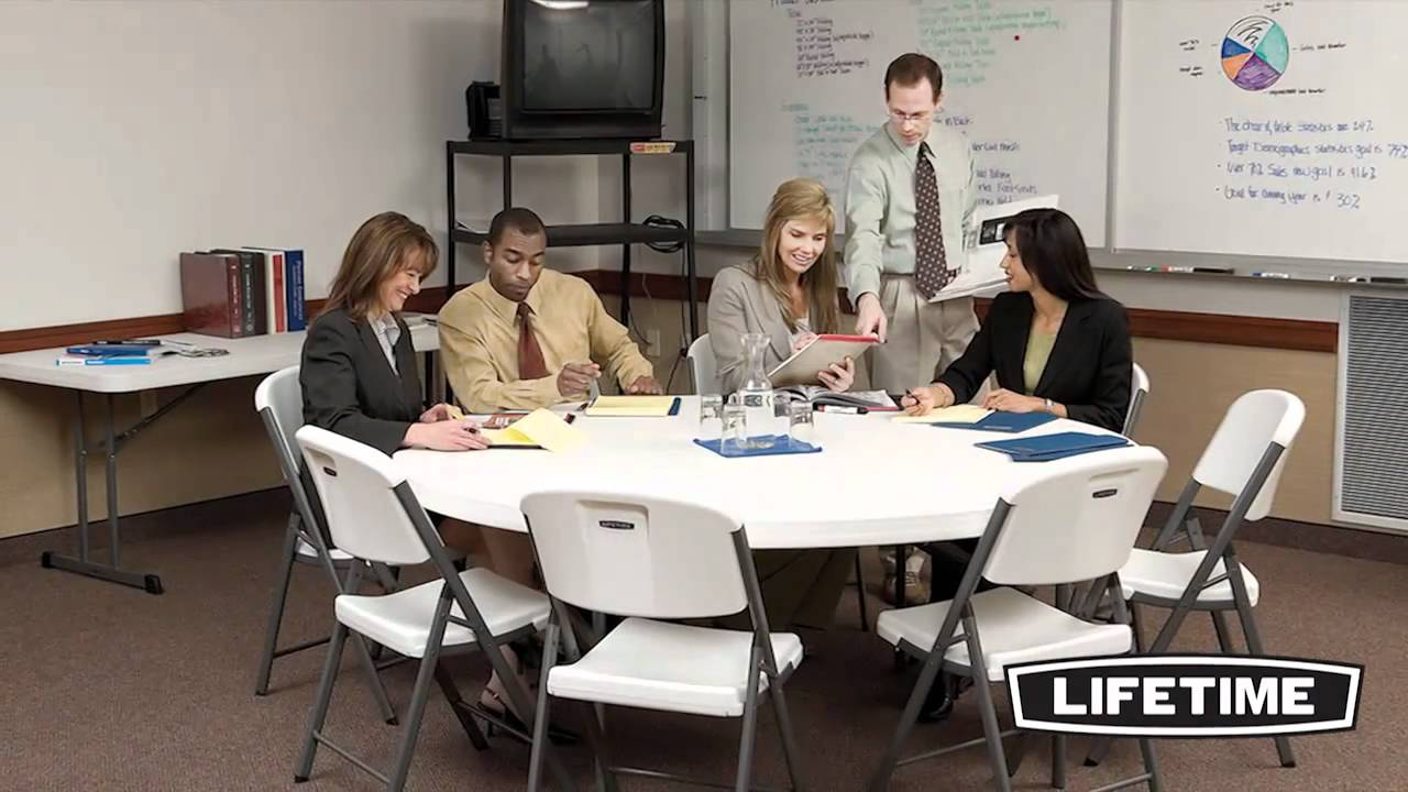 Lifetime 72 Quot Round Commercial Tables Amp Chairs Combo Youtube