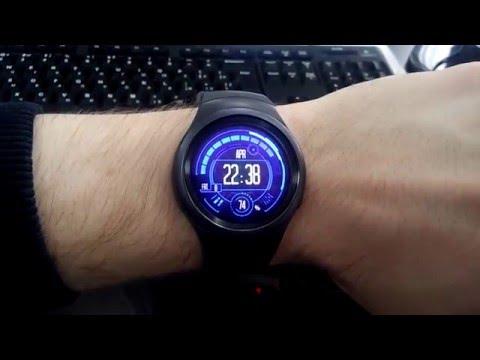 Watch Face: Blue Neon  running on Samsung Gear S2