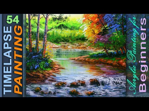 Acrylic River Painting with Autumn Trees and basic water reflection | PAINTING LESSON FOR BEGINNERS