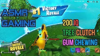 ASMR Gaming | Fortnite 200 IQ Tree Clutch Relaxing Gum Chewing 🎮Controller Sounds + Whispering😴💤