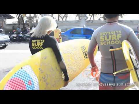 Surfing lessons with Odysseys Surf School Bali
