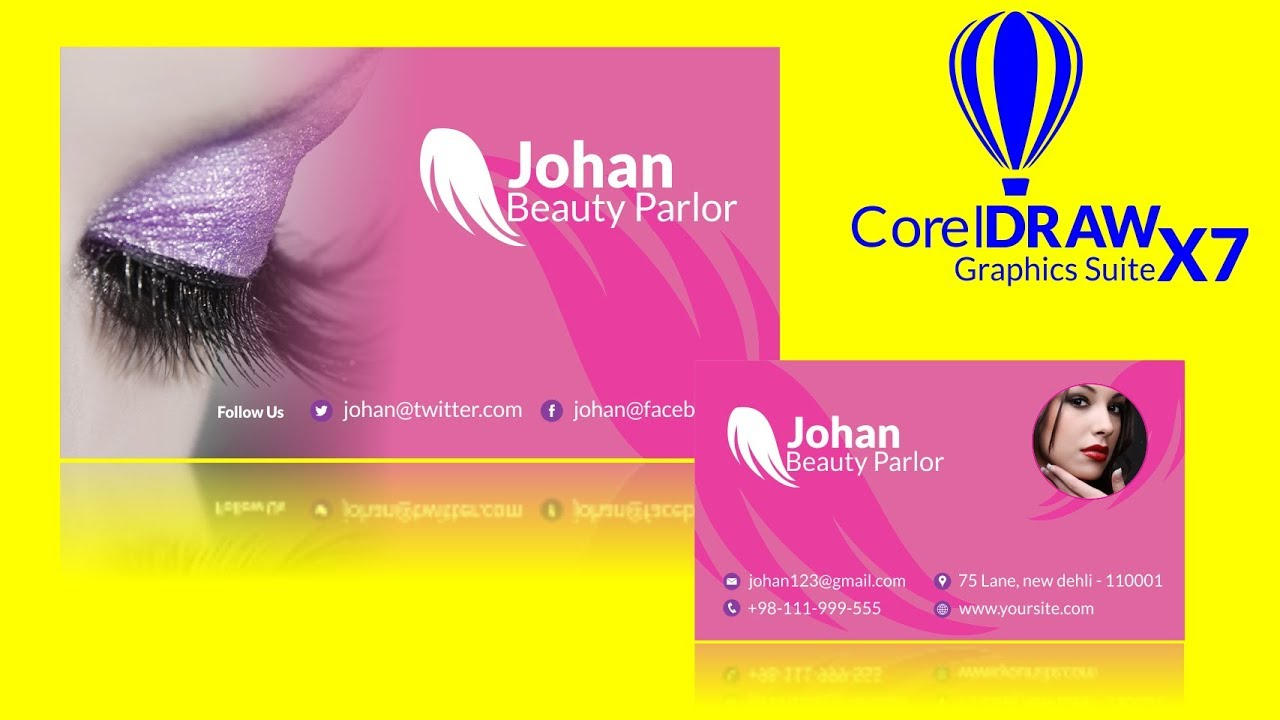 How To Create Beauty Parlour Visiting Card In Coreldraw X7 Youtube