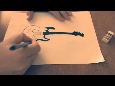 Bидео урок как нарисовать гитару.