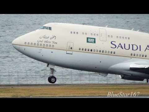 [King Salman onboard] Saudi Arabian Government Boeing 747-400 (HZ-HM1) takeoff from HND/RJTT RWY 34R