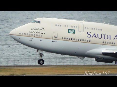 [King Salman onboard] Saudi Arabian Government Boeing 747-400 (HZ-HM1) takeoff from HND/RJTT RWY 34R