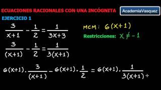 Ecuaciones Racionales con una Incógnita, Ejercicio 1