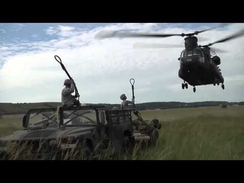 Fort Riley Kansas -- 1st Infantry Division -- Air Assault Training -- Chinooks and Artillery!