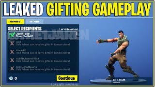 *NEW* Fortnite: LEAKED GIFTING GAMEPLAY! *Gift Skins!*