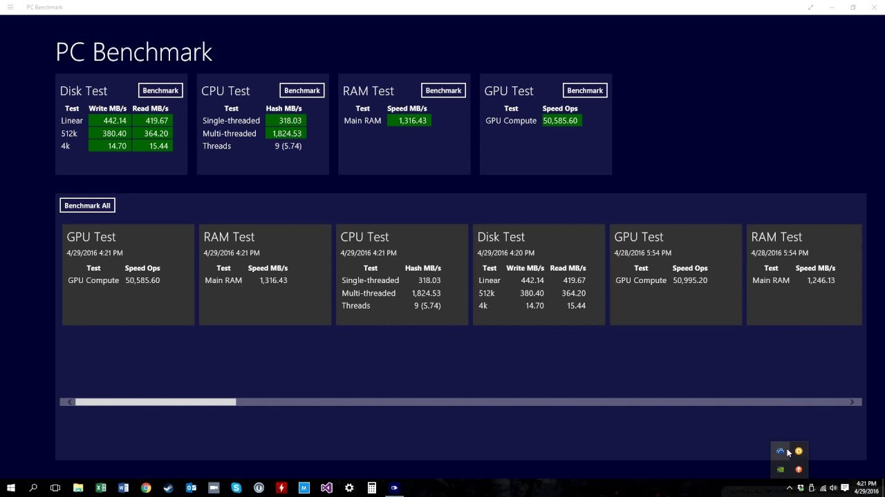benchmark test windows 10