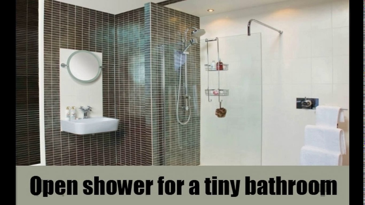 Small open shower bathroom design youtube for Open shower bathroom