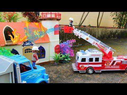 Fire Trucks for Children Rescue Playmobil House - Fire Engine , Dump Truck