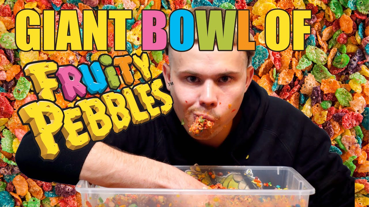 GIANT BOWL OF FRUITY PEBBLES! (OVER 15K CALORIES!) - YouTube Bowl Of Fruity Pebbles Calories