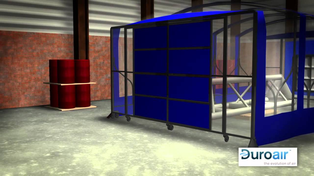 Portable Paint Booth >> Duroair Retractable Industrial Cleanroom - YouTube