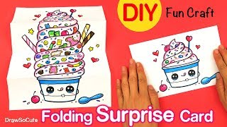How to Make a Cute Folding Surprise Card DIY Easy