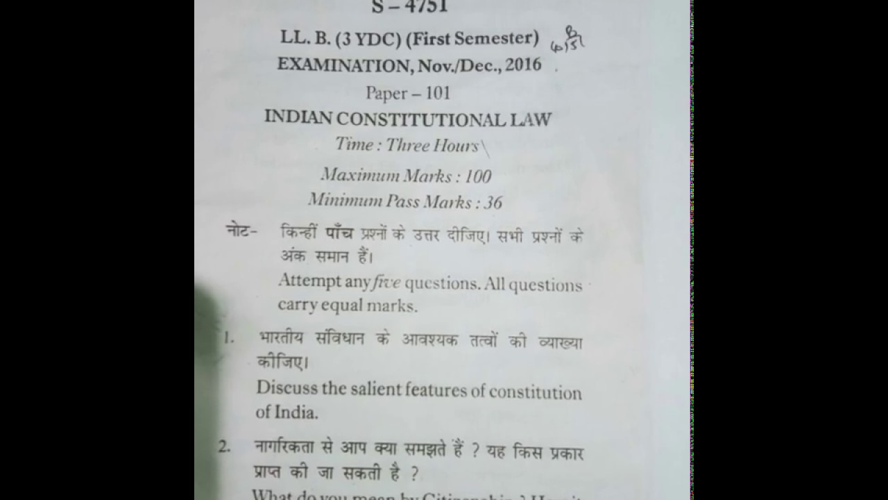 LLb First Semester Indian Constitutional Law