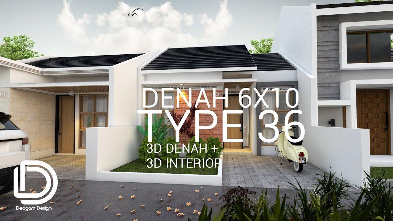 Denah Rumah Type 36 Luas Lahan 6x10m Youtube