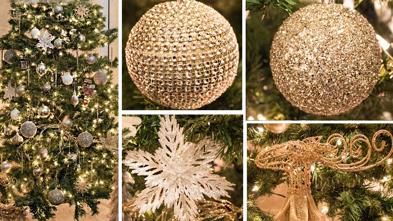 decorate with me christmas tree how to gold white champagne - White Christmas Tree With Gold Decorations