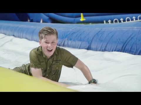 Robert & Chandler test out Australia Zoo's waterslide for Summer Down Under!