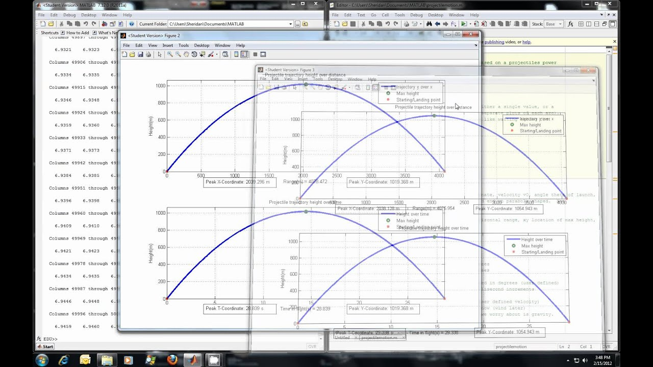 MATLAB Projectile motion demonstration