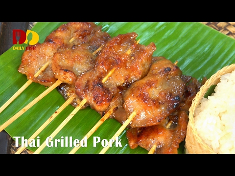 Thai Grilled Pork (Thai Food) หมูปิ้ง | Moo Ping
