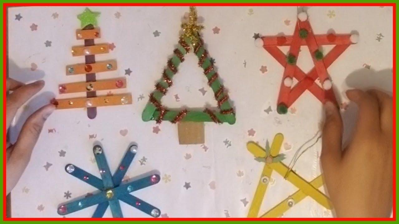 5 adornos navide os con palitos de helado youtube - Trabajos manuales de navidad para ninos ...