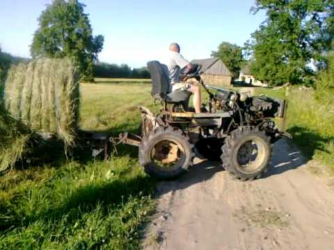 Homemade Tractor First Real Run Pulling Rolls Of Hay