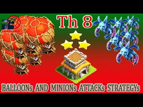 Town Hall 8 BALLOONs AND MINIONs ATTACKs STRATEGYs 2017