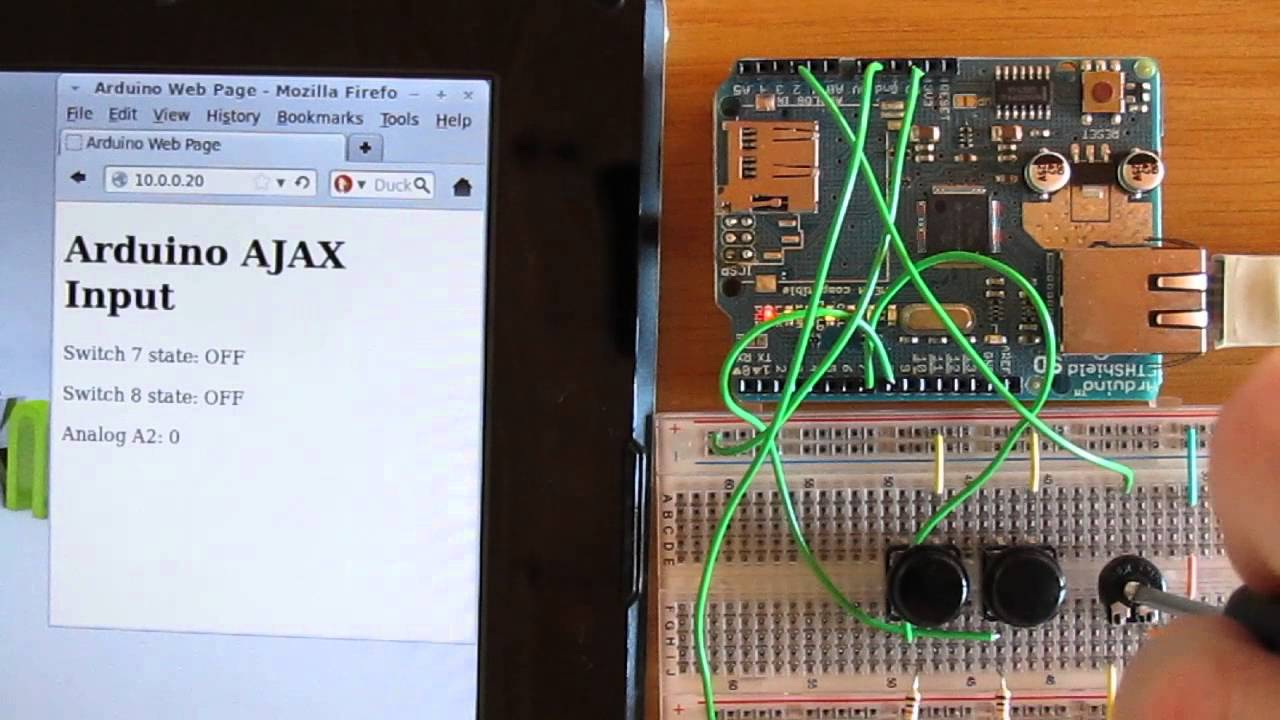 Reading switches and analog input using Ajax on Arduino web server