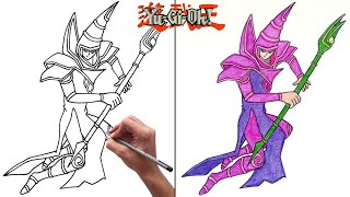 How to Draw Dark Magician from Yugioh Easy Step by Step YouTube