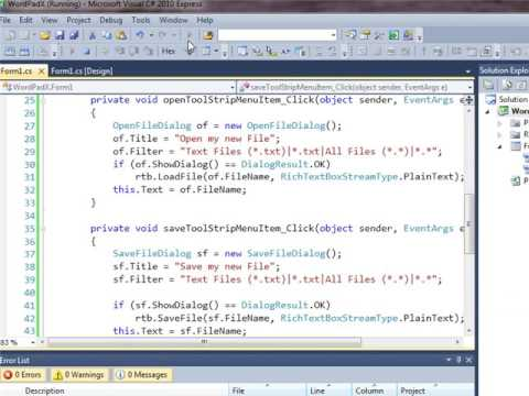 Create a Wordpad application in C#