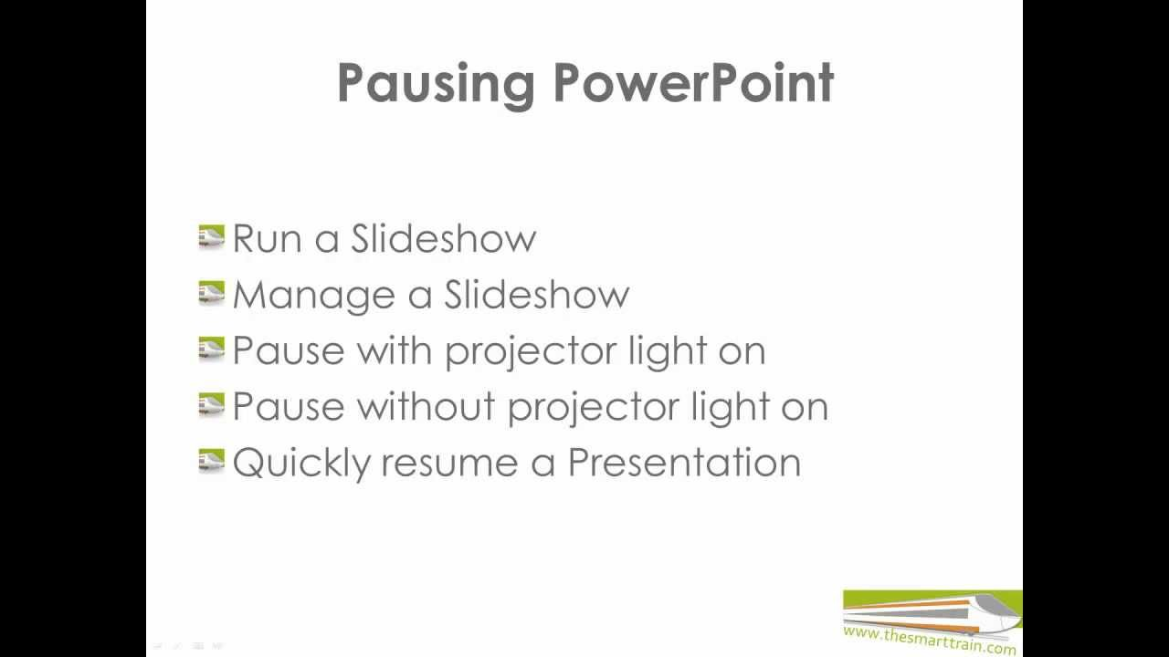 How To Pause A Presentation Ms Powerpoint Presentation Skills