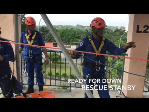 Malaysia civil defence Rope RESCUE Height Line System