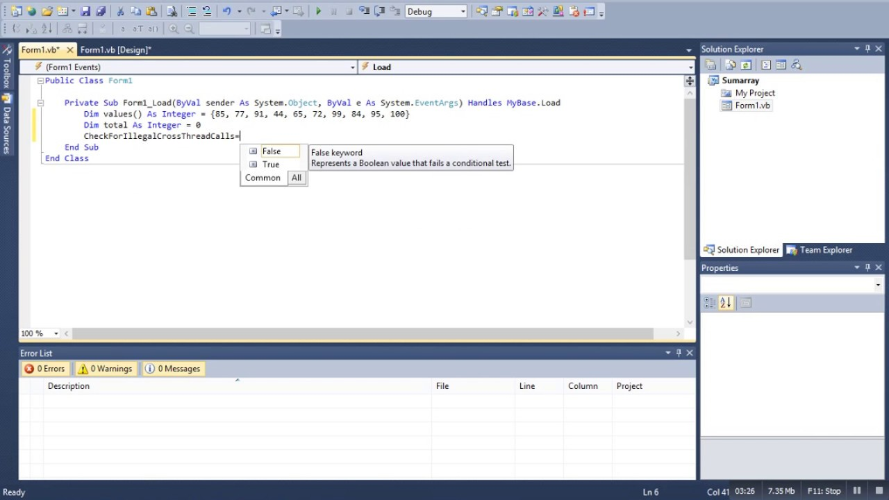 Compute the sum of array element in vb net