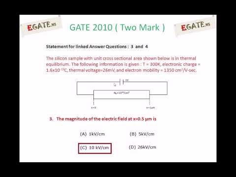 Problem on Electric filed of semiconductor - GATE 2010 Solved paper (Electron Devices)