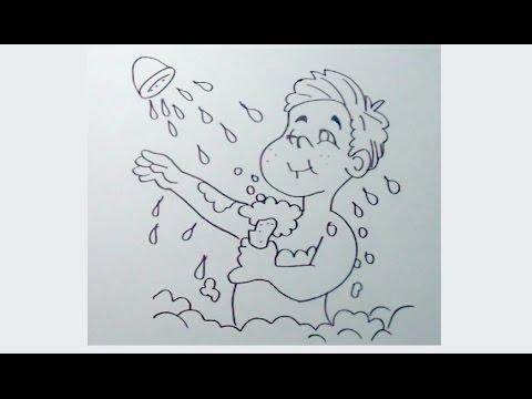 Cómo Dibujar Un Niño Tomando Un Baño O Ducha 12 Paso A Paso