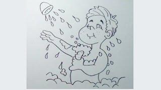 Cómo dibujar un niño tomando un baño o ducha 1/2 paso a paso