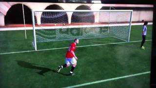 Rooney nutmegs the keeper. FIFA 12.
