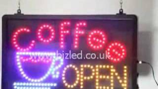 Coffee Open LED Sign with Coffee cup