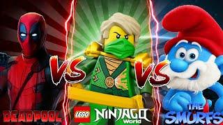 Minecraft - LEGO NINJAGO MOVIE - LLOYD VERSUS A SILLY SMURF & THREATENS DEADPOOL