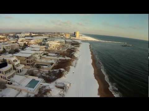 GoPro Drone over a snow covered Virginia Beach