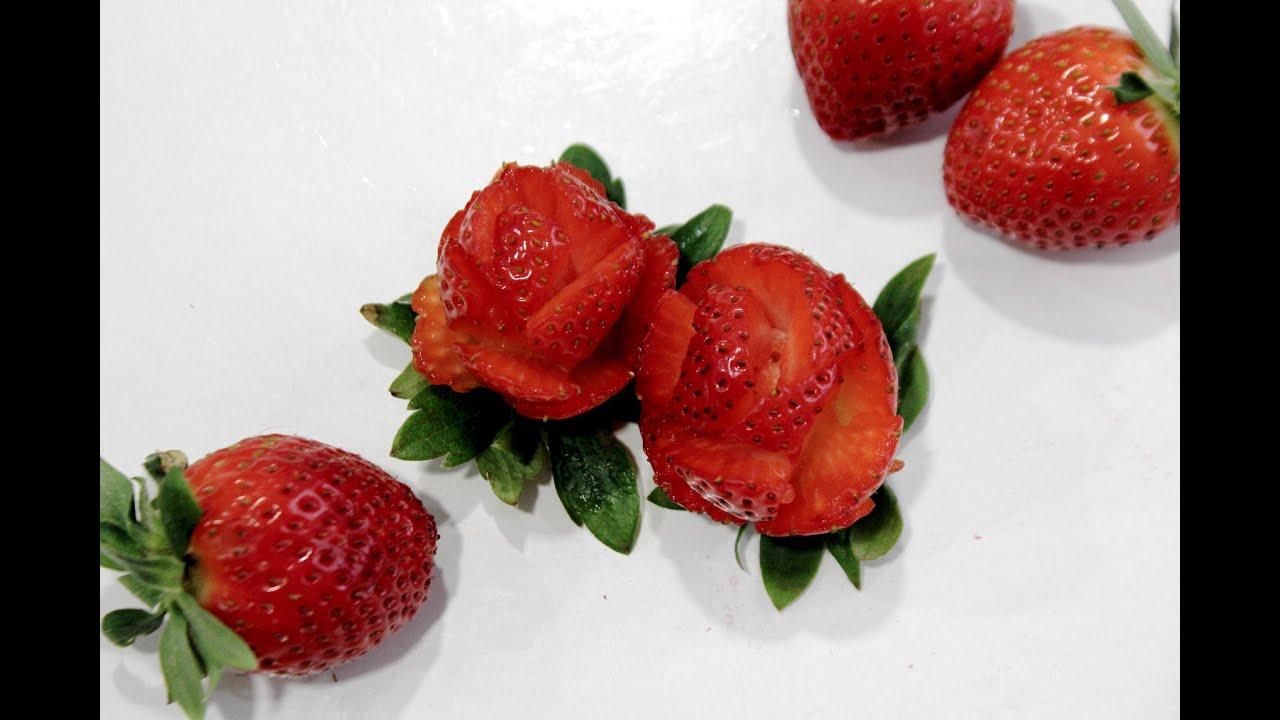 Cómo hacer rosas con fresas. Strawberry flower - YouTube