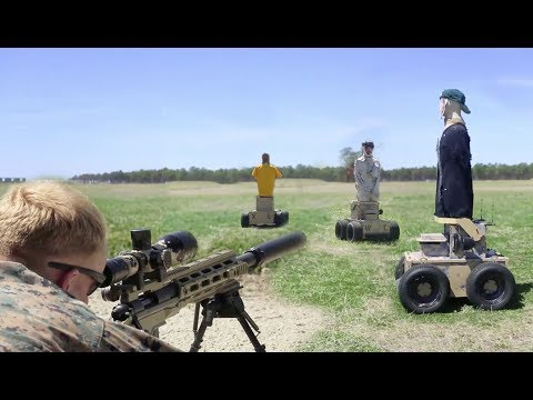 USMC Recon Sniper & Infantry engage moving robotic targets